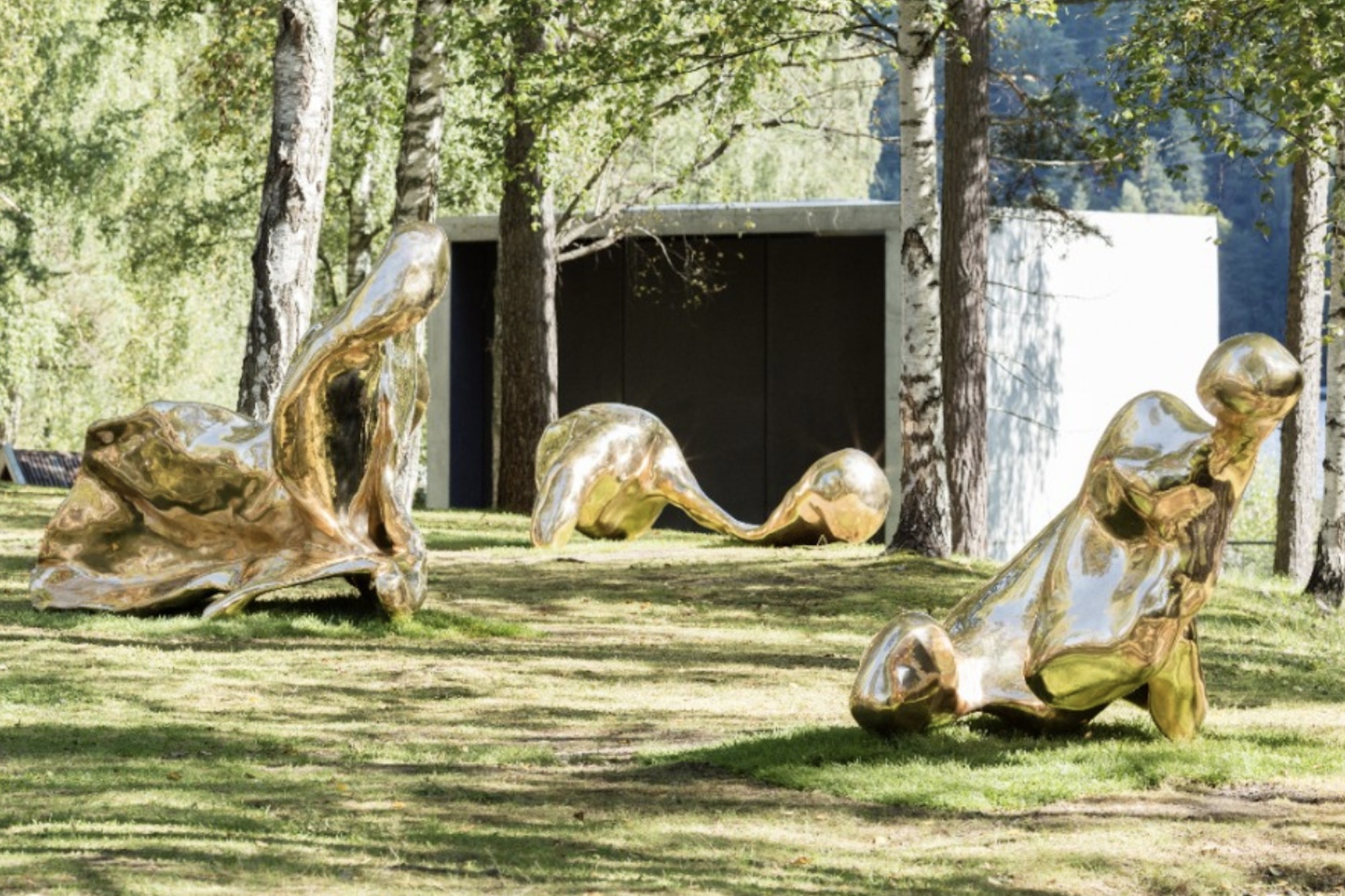 Three sculptures, gold, shiny, abstract forms